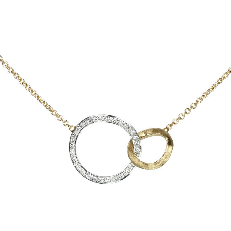 Marco Bicego Jaipur Diamond Circle Link Yellow & White Gold Necklace CB1675