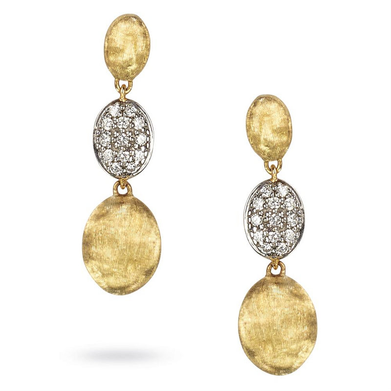 Marco Bicego Siviglia Triple Drop Diamond Earrings 18K Yellow Gold OB1234-B