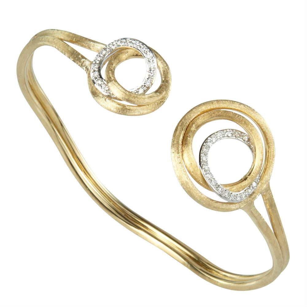 Marco Bicego Jaipur Link Circle Yellow Gold Bangle Bracelet with Diamonds