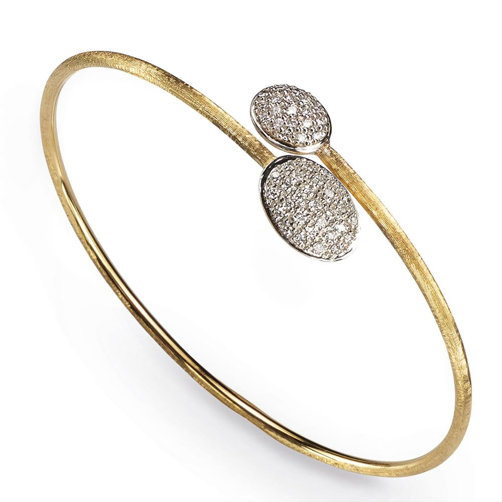 Marco Bicego Siviglia Yellow Gold diamond Crossosver Bangle Bracelet SB62 B YW