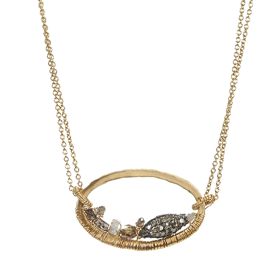 Dana Kellin Grey Diamond Marquise Oval Yellow Gold Spun Wire Pendant Necklace
