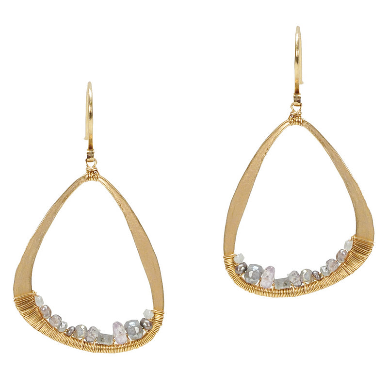 Dana Kellin Grey Diamond Yellow Gold Spun Wire Open Dangle Earrings