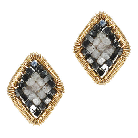 Dana Kellin Grey & Black Diamond Yellow Gold Spun Wire Inu Stud Earrings