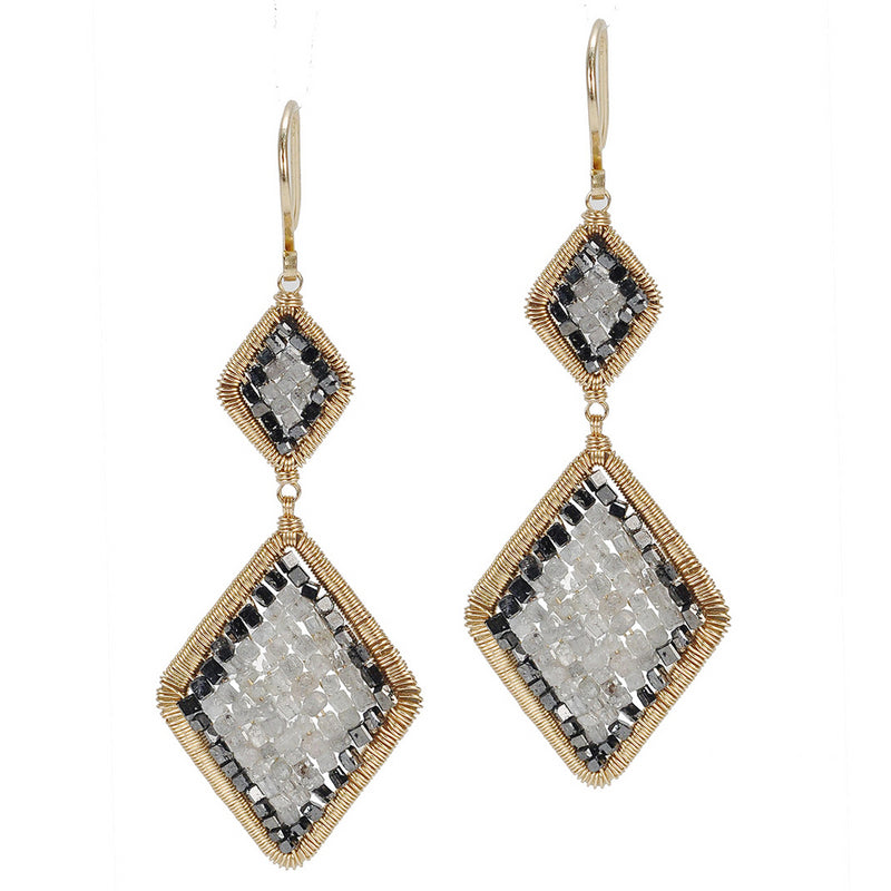 Dana Kellin Grey & Black Diamond Arrowhead Yellow Gold Spun Wire Dangle Inu Earrings