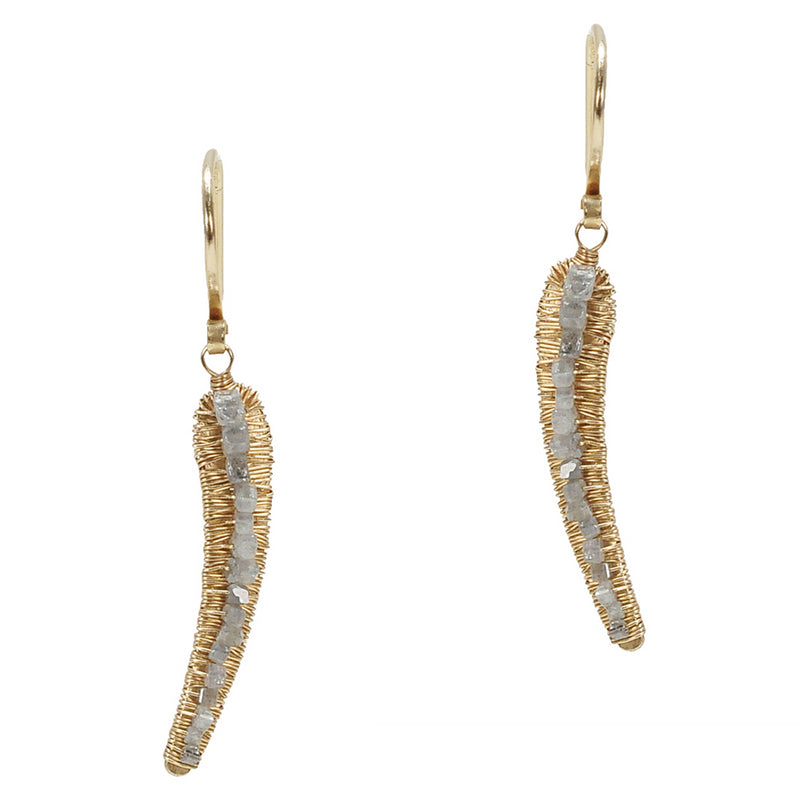 Dana Kellin Grey Diamond Yellow Gold Spun Wire Horn Dangle Drop Earrings
