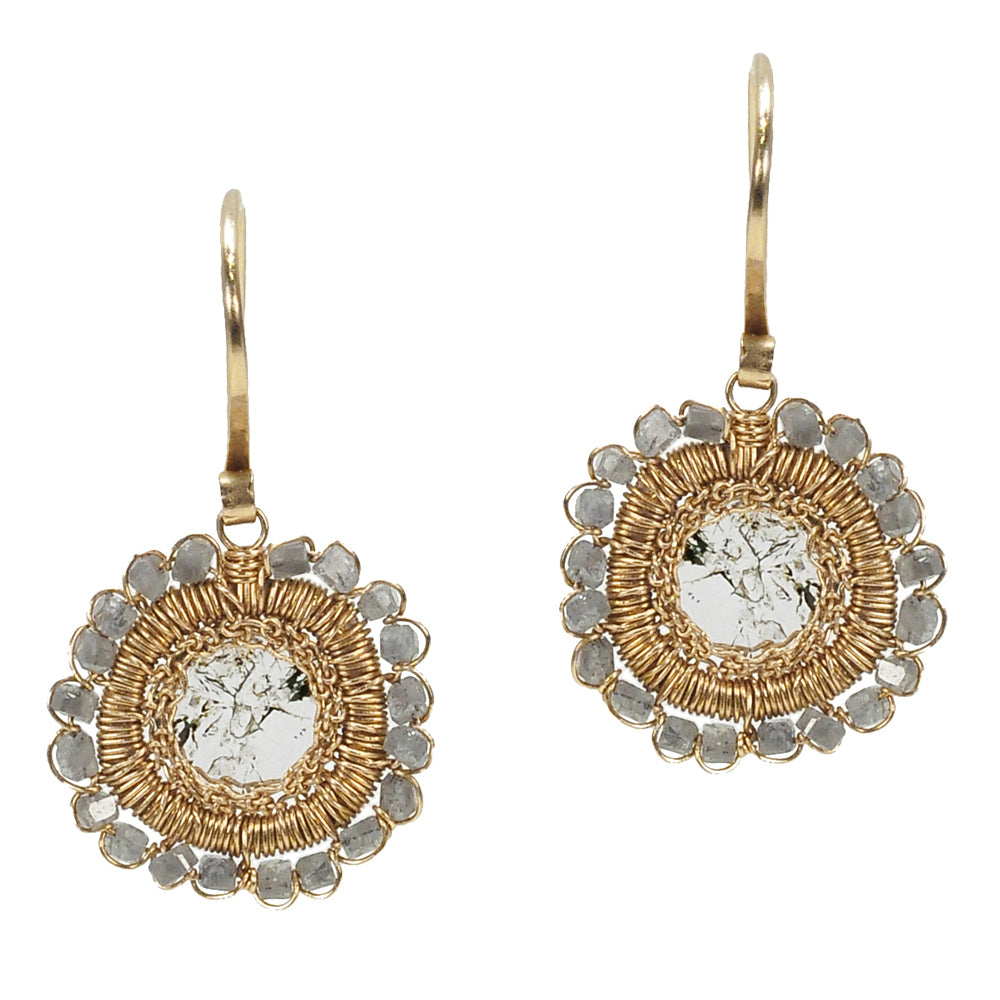 Dana Kellin Grey Diamond Circle Yellow Gold Spun Wire Dangle Earrings