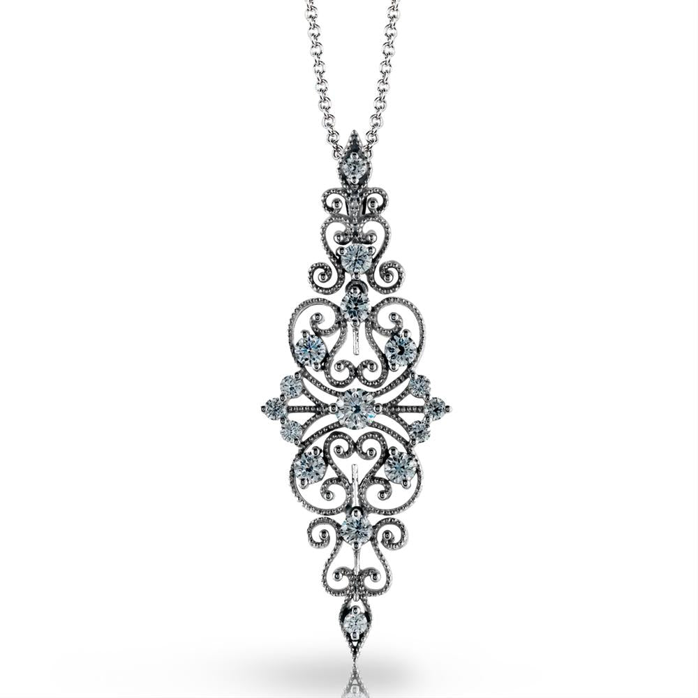 Simon G. Vintage Duchess Collection Filigree Diamond Pendant Necklace MP2067