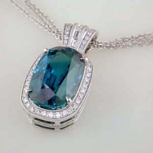 Simon G. Natural Oval Blue Zircon & Diamond Pendant Necklace MP1174