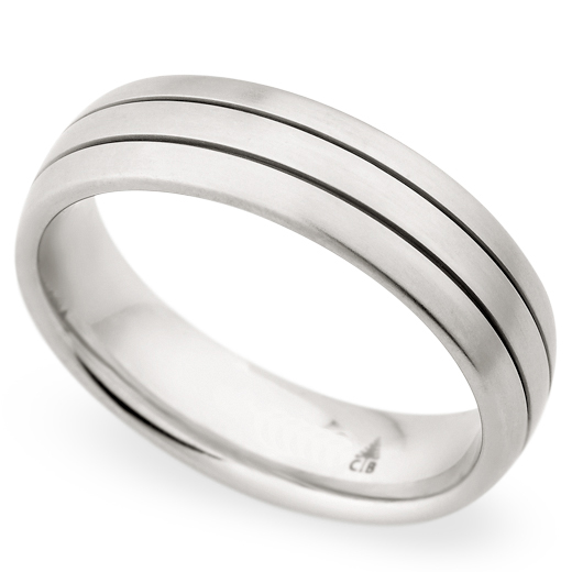 Christian Bauer Men's White Gold Brushed Wedding Band Ring 18K