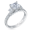 Mirabeau Princess Asscher Diamond 18K White Gold Engagement Ring