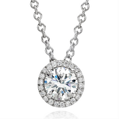 "Forevermark Round Ideal Cut Diamond Halo ""Center of my Universe"" Pendant Necklace 18K White Gold"
