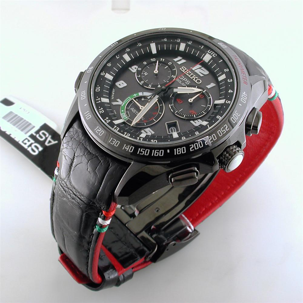 Seiko Astron Giugiaro Limited Edition 2015 GPS Solar Black Titanium Ceramic Tri-Color Watch 44.6mm SSE037