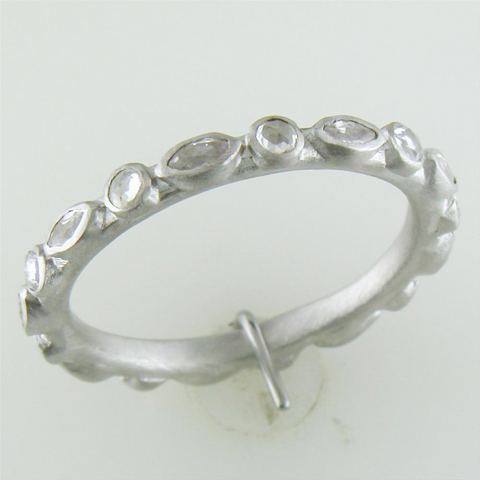 Armenta Multi Eternity Stackable Sterling Silver Round Marquise White Sapphire Band Ring
