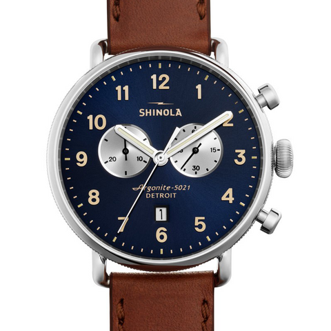 Shinola Gents 43mm Canfield Chronograph Midnight Blue Dial Watch 20001940