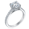 Mirabeau Round Diamond Platinum Pave Engagement Ring 2 Carat Center