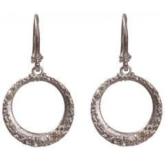 Armenta Petite Round Scattered Champagne Diamond Silver Earrings