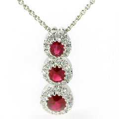 Ruby & Diamond Oval Halo Three Stone Pendant Necklace