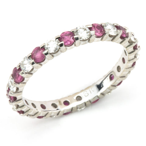 Diamond & Pink Sapphire Eternity Wedding Band Anniversary Ring 18K White Gold
