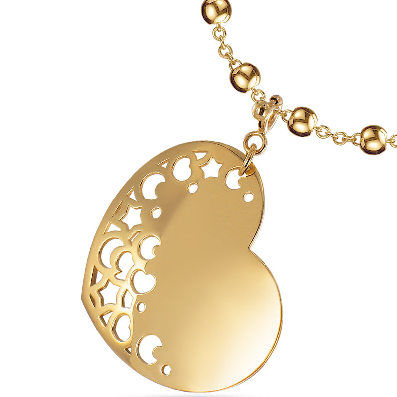 Pasquale Bruni Yellow Gold Heart Charm with Moons & Stars Pendant Necklace