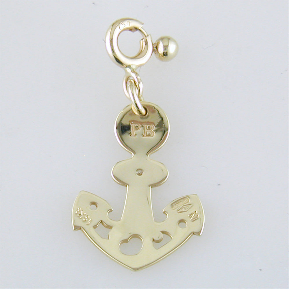 Pasquale Bruni Le Monde Anchor Charm Pendant 18K Yellow Gold with Diamond 14252G