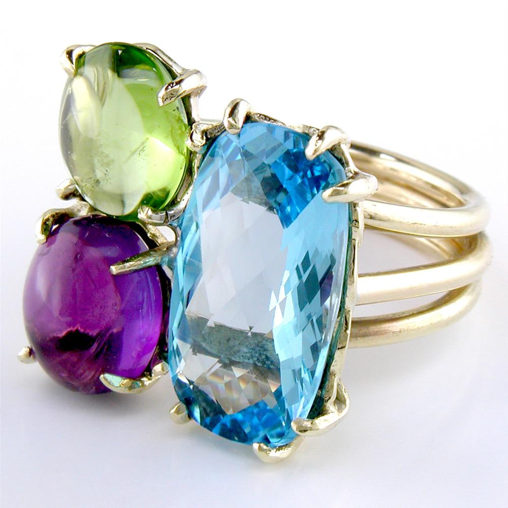 Blue Topaz, Amethyst, & Peridot Gemstone Mix 18K Yellow Gold Cocktail Ring
