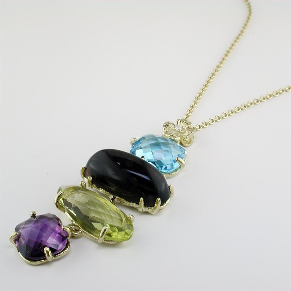 Blue Topaz, Smoky & Lemon Quartz, Amethyst Yellow Gold Dangle Pendant Necklace