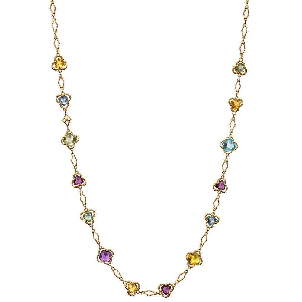 "Trefoil Clover Station Necklace in 18K Gold with Blue Topaz, Citrine, & Green Quartz 28"" Long"