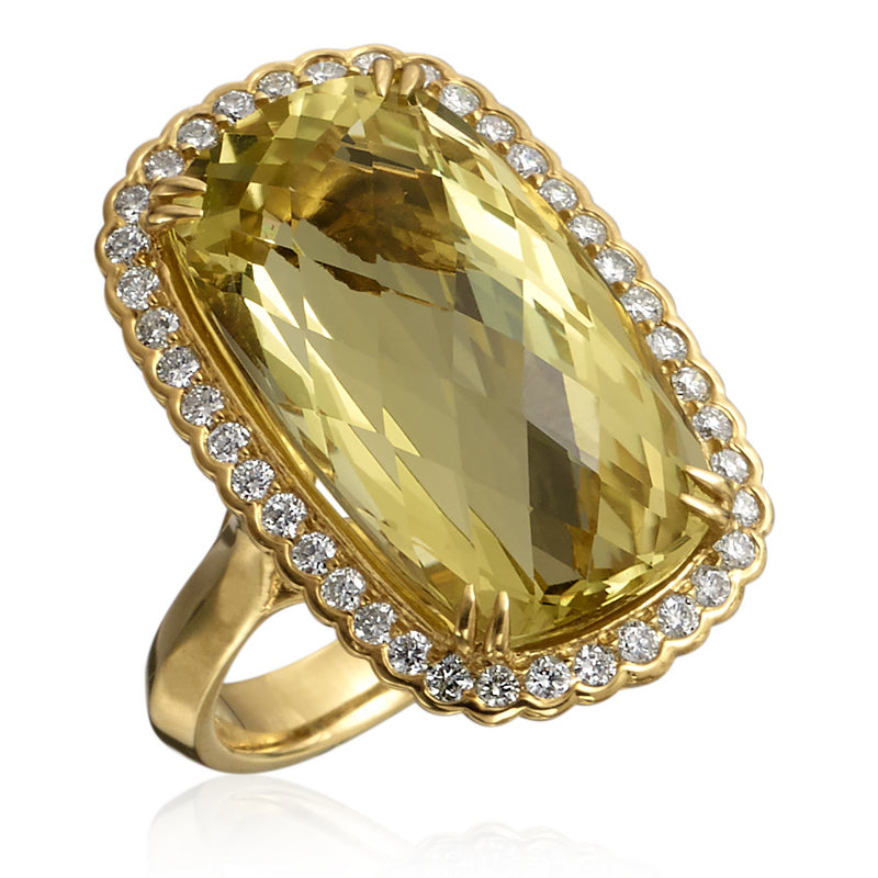 Lemon Citrine Elongated Cushion Cocktail Ring with Diamond Halo in 18K Yellow Gold