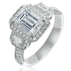 Emerald Cut 2.10 Carat Diamond Three Stone Halo White Gold Engagement Ring