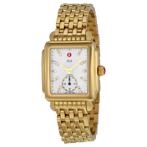 Michele Deco 16 Mother of Pearl Diamond Markers Gold-Tone Watch