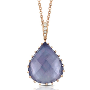 "Doves ""Parisian Plumb"" Blue Lapis, Mother of Pearl, Amethyst & Diamond Teardrop Shaped Pendant Necklace Rose Gold"