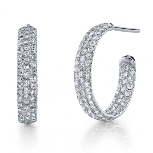 Diamond Inside Out Mini Pave Diamond Hoop Earrings White Gold