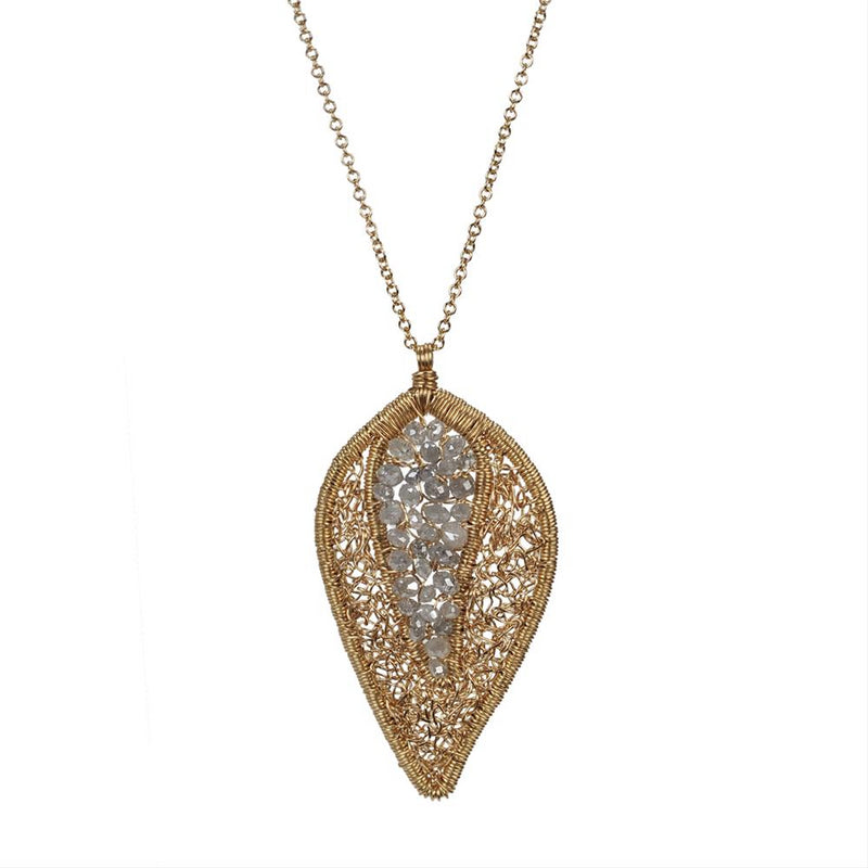 Dana Kellin Grey Diamond Arrowhead Yellow Gold Spun Wire Pendant Necklace