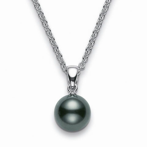 Mikimoto Black South Sea 8mm Pearl Pendant Necklace White Gold