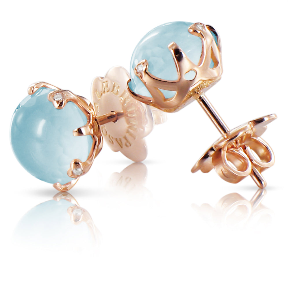 Pasquale Bruni Bon Ton Blue Moon Quartz Rose Gold Stud Earrings 14752R