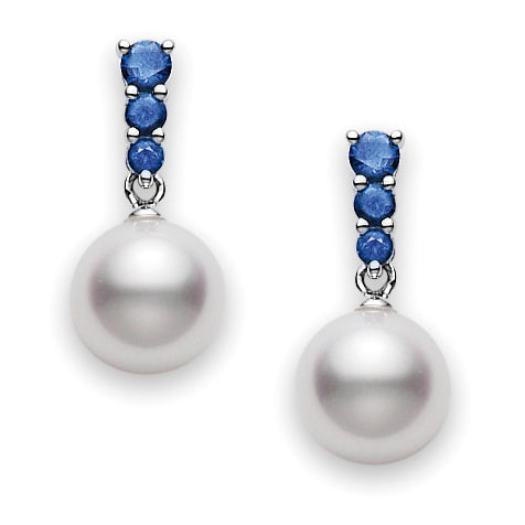 Mikimoto Morning Dew White Akoya Pearl with Blue Sapphire Earrings