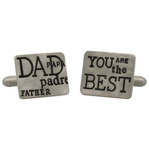 "Heather Moore Sterling Silver ""Best Dad"" Graffiti Rectangle Cufflinks"