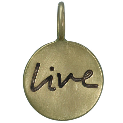 "Heather Moore ""Live"" Handwritten Round 14K Green Gold Charm Pendant"