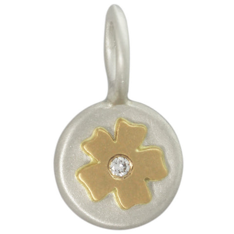 Heather Moore Unframed Diamond Cherry Blossom Flower Charm, Silver & Yellow Gold, Size 1