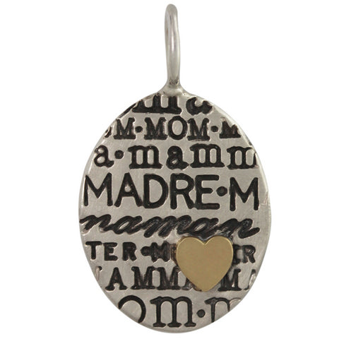 Heather Moore Oval Unframed Silver Mom Mother Graffiti Charm Pendant