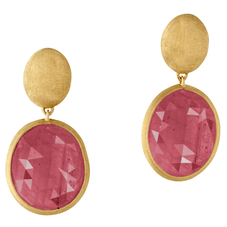 Marco Bicego Siviglia Pink Sapphire Drop Yellow Gold Earrings OB1019