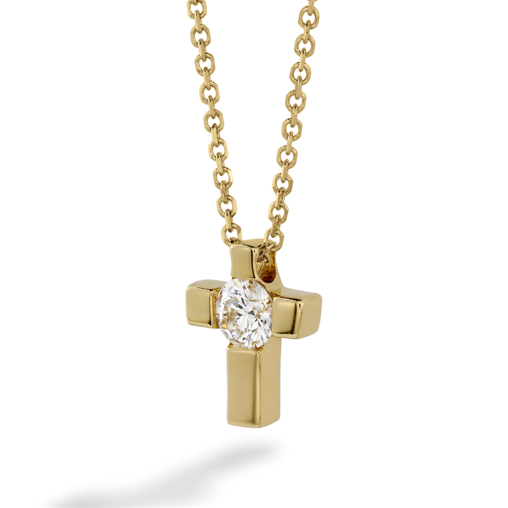 Hearts on Fire Charmed Cross Diamond Pendant Necklace Yellow Gold