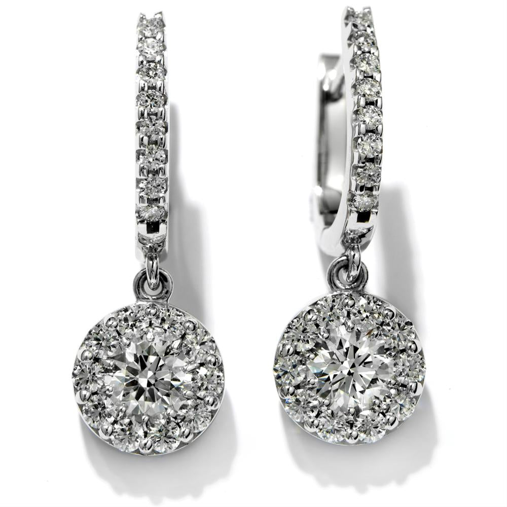 Hearts on Fire Fulfillment Diamond Drop Round Earrings 18K White Gold