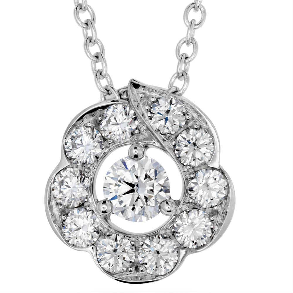 Hearts On Fire Lorelei Bloom Diamond Pendant Necklace 18K White Gold .46cts