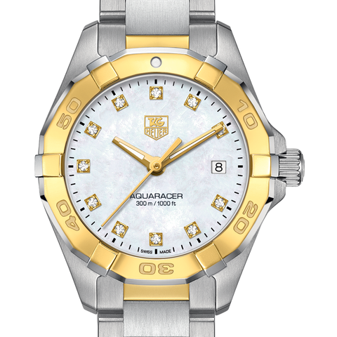 TAG Heuer Aquaracer 300M Steel & Yellow Gold 27mm Mother of Pearl WAY1451.BD0922