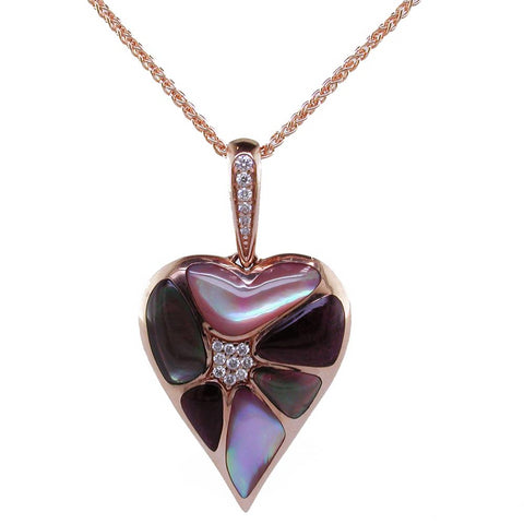 Kabana Heart Black Mother of Pearl Inlay Pendant Necklace with Diamonds in 14K Rose Gold