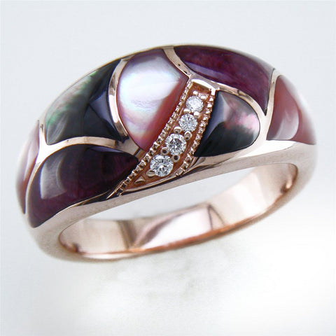 Kabana Black Mother of Pearl Inlay Ring with Diamonds in 14K Rose Gold