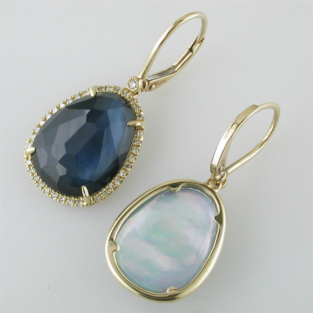 Sapphire, Mother of Pearl, & Quartz Earrings in Yellow Gold with Diamond Halos
