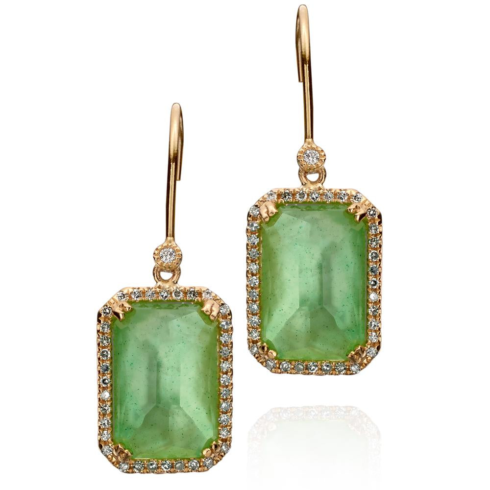Chrysoprase, Mother of Pearl, & Quartz Green Triplet Diamond Dangle Earrings