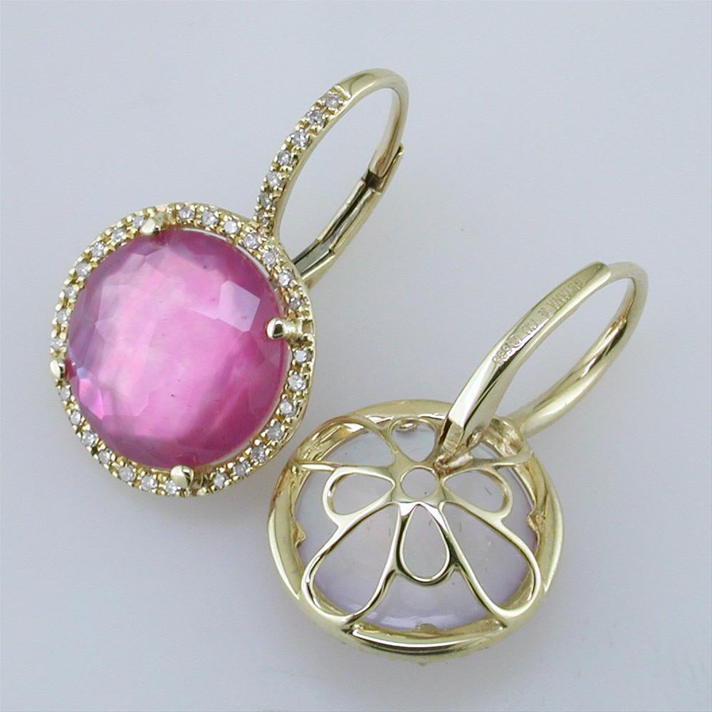Pink Tourmaline, Mother of Pearl, & Quartz Triplet Earrings with Diamond Halo in Yellow Gold